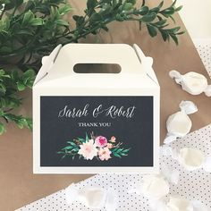 12 Personalized Floral Garden Mini Gable Boxes