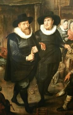Anonymous,  Amsterdam museum 1628. Note how these gentlemen pull their cloak under the armpit, to tuck them in their belt at the front.