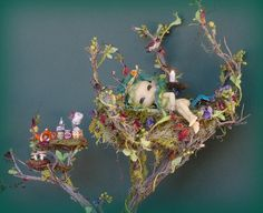 My fairy house tree house dollhouse project with tiny BJD faerie model. Thx for looking! :)