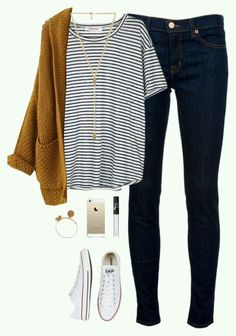 Fall outfits // White converse sneakers, striped t-shirt, mustard yellow cardigan with denim, Wear, Women's Outfits