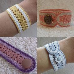 A free crochet pattern of a bracelet. Do you also want to crochet this bracelet? Read more about the Free Crochet Pattern Blacelet crochet bracelet Crochet Bracelet Pattern, Crochet Jewelry Patterns, Bead Crochet, Crochet Accessories, Bracelet Patterns, Crochet Crafts, Crochet Projects, Crochet Earrings, Knit Bracelet