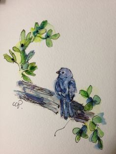 Blue Bird Watercolor Card by gardenblooms on Etsy