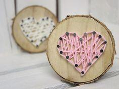 DIY süßes Geschenk zum Valentinstag: Baumscheibe mit Herz in String Art ♡