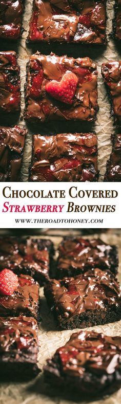 These from scratch chocolate covered strawberry brownies are fudgy & filled with fruit flavors. They are baked with freeze dried raspberries & topped with strawberry filled chocolate bars The ultimate of sweet treats when you are looking for a sinfully Strawberry Brownies, Strawberry Filling, Chocolate Covered Strawberries, Cheesecake Strawberries, Strawberry Fields, Delicious Chocolate, Chocolate Recipes, Chocolate Bars, Chocolate Oatmeal