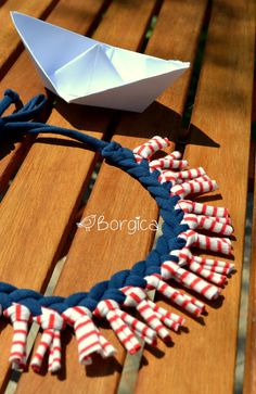 Nautical stripes - upcycled fabric tshirt yarn necklace, fiber jewelry, eco friendly necklace, colorful jersey stripes