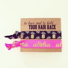Luau Bachelorette Hair Tie Favor Hot Pink Black Gold Pineapple Hair... (61 MXN) ❤ liked on Polyvore featuring accessories, hair accessories, brown, ties & elastics, elastic hair ties, hair ties, gold hair accessories, ponytail hair ties and gold hair tie