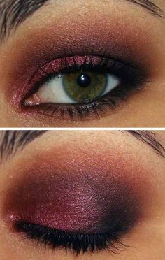 Make up occhi verdi con ombretto color melanzana