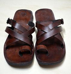 efe17fece68b Buckle Leather Sandals - Leather Flip Flops