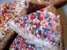 Fairy bread.......http://karlamcurry.wordpress.com/2012/02/22/preschool-u-is-for-unicorn/