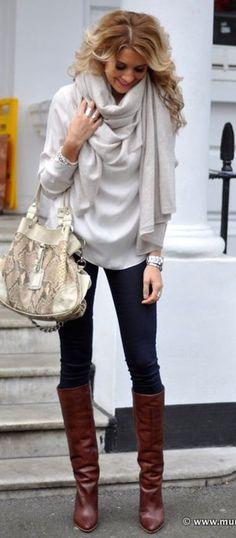 #winter #fashion / boots + skinnies