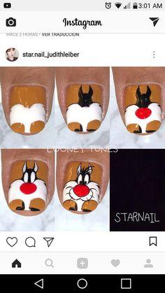 Cartoon Nail Designs, Cute Nail Art Designs, Toe Nail Designs, New Nail Art, Cool Nail Art, Nail Art Dessin, Sculpted Gel Nails, Nails Yellow, Nail Drawing