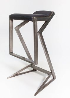 Steel and leather bar stool by NordLoft on Etsy