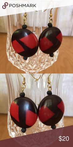 "Vintage Black & Red Earrings Vintage red and black earrings bought at an estate sale. About 1 3/8"" in length. Jewelry Earrings"