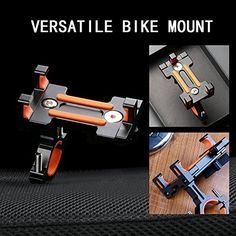 Bike Phone Mount, Universal Cell Phone Bicycle Rack Handlebar & Motorcycle Phone Mount for iPhone 6 6(+) 6S 6S plus,Samsung Galaxy S3 S4 S5 S6 S7 Note 3/4/5,Nexus,HTC,LG,BlackBerry,Black