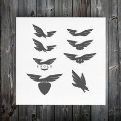 Negative space eagle logos by 1baranov on Creative Market
