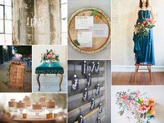 Modern vintage loft wedding inspiration with blue, teal, orange, and gold