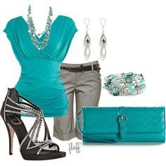 summer outfit Love the shirt purse and bracelet and kinda feeling the gray tone long shorts or capris but the shoes are not me
