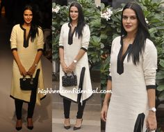 Abraham & Thakore kurta with black leggings, pointed pumps, floral black Dior tote [via highheelconfidential.com]