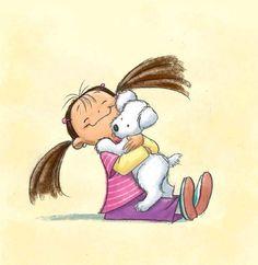 Un enfant, une fille qui donne un câlin a un petit chien blanc. Arrière plan beige   J'aime ce dessin, parce que c'est mignon que la petite fille aime le chien et que le chien garde un petit visage innocent au lieu que d'avoir un sourire irréaliste comme dans d'autre dessin.