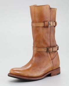 "Bed:Stu Rustic Double-Buckle Boot | Enduring leather, buckle details, and hand-crafted construction lend artisan appeal to this Bed Stu boot.        Hand-crafted leather upper with tonal topstitching.      Mid-calf shaft with two buckled straps; 13"" circumference; 10""H overall.      Inside zip.      Classic round toe.      Durable Goodyear welt leather sole.      1""H stacked flat heel."