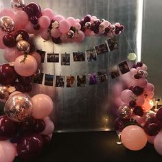 Beautiful pink and burgundy balloons for a proposal Birthday Thank You, Birthday Bash, Girl Birthday, Birthday Parties, Balloon Garland, Balloon Decorations, Birthday Decorations, Balloon Ideas, Sweet 15