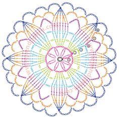 Afbeeldingsresultaat voor mandalas tejidas a crochet patrones Motif Mandala Crochet, Crochet Circles, Crochet Flower Patterns, Crochet Round, Crochet Squares, Crochet Home, Crochet Doilies, Crochet Flowers, Rug Patterns