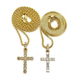 "CROSS DOUBLE PENDANT & 24"" BOX & ROPE CHAIN NECKLACE SET"