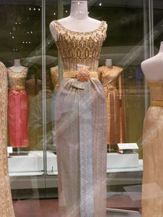 One of the dress of HRH Queen Sirikit on display for the public. Lovely color and detail.