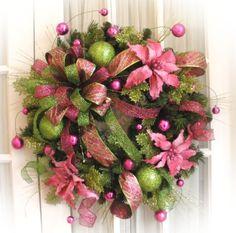 Pink poinsettia Christmas wreath & Apple Green