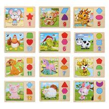 3d puzzle de madeira multicolor tangram signos do zodíaco chinês animais dos desenhos animados jigsaw puzzle crianças brinquedos educativos para crianças(China (Mainland))