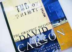 The End of Print:  The Grafik Design of David Carson The End of Print is the definitive statement of the work of the great iconoclast designer, David Carson. It features work from the magazines where Carson first made his mark including Transworld Skateboarding, Surfer, Beach Culture and Ray Gun—as well as his instantly recognizable advertisements for clients such as Nike, Pepsi, MTV and Sony. Get it at http://booksfordesignrs.com/post/72892647997/the-end-of-print-the-grafik-design-of-david