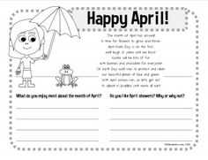 FREE - April writing worksheet activity