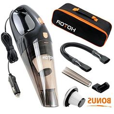 Car Vacuum Cleaner, HOTOR DC12-Volt 106W Wet&Dry Portable Handheld Auto Vacuum Cleaner for Car,16.4FT(5M)Power Cord with Carry Bag(Black)