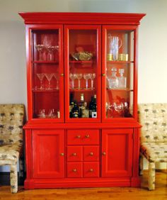red china cabinet turned bar. I wanna do this to the cabinet in my dinning room! Love this idea! Ty to who thought of it :)
