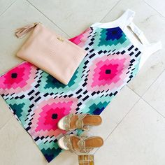 Bright NEW @brittryan dress and @jackrogersusa wedges- come see us! #charlottesstyle #fashion #ootd