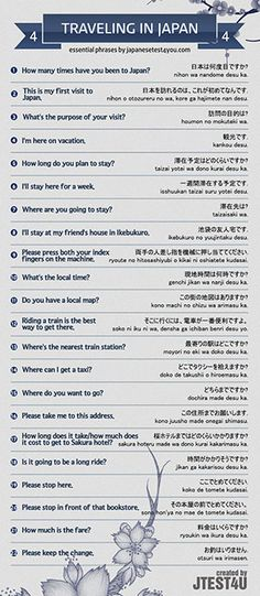 Infographic: Japanese phrases for traveling part 4
