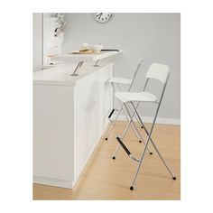Franklin Bar Stool With Backrest, Foldable, White, Silver Color