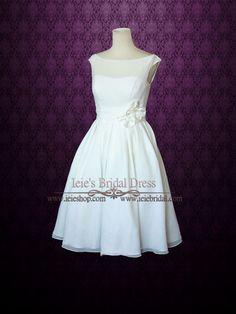 Simple Yet Elegant Modest Retro 50s Knee Length Ivory Wedding Dress | Tracy