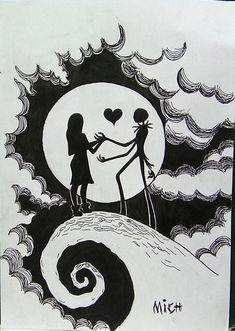 Drawings of Jack Skellington sewing Tim Burton Kunst, Tim Burton Art, Tim Burton Drawings, Sally Nightmare Before Christmas, Jack E Sally, Jack The Pumpkin King, Christmas Coloring Pages, Arte Horror, Nightmare Before Christmas