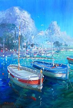 Small boats - French painter Laurent Parcelier, 1962