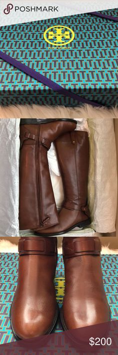 Tory Burch Derby Riding Boots Brand new Tory Burch Derby Riding Boots in size 7.5! I only wore these once to a broadway show. I am 5'3 and these come up right under my knee. I am a true size 8 and these fit perfectly. Please lmk if you have any questions. Tory Burch Shoes