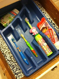 A silverware tray works great to hold bathroom items!  -- Top 20 Creative Bathroom Hacks