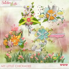 A set of 5 whimsical and colorful clusters, designed to help you create your scrapbook pages quickly and easily.  This set coordinates with My Little Chickadee by Snickerdoodle Designs.