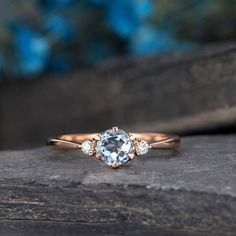 Aquamarine Engagement Ring Rose Gold 3 Stone Ring Diamond Thin