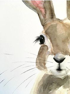 Watercolor Cat, Watercolor Animals, Tattoo Watercolor, Watercolor Flowers, Animal Drawings, Art Drawings, Easter Drawings, Lapin Art, Bunny Art