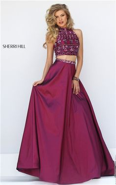 2016 Prom Dresses Cheap Sherri Hill 32366 Long Two-Piece Beads Open Back