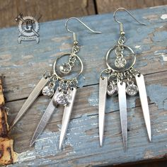 Triple Fork Tine Earrings with Triple Crystals by Doctor-Gus