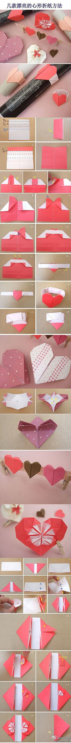 Origami Hearts! Just follow the step-by-step directions in the photo for some Valentine's Day fun!