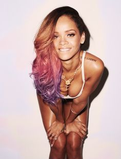 Rihanna's pink and purple ombre