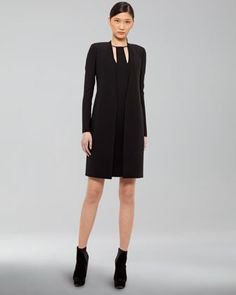 Long Double-Face Cardigan & Zip-Detail Dress by Akris at Neiman Marcus.